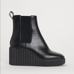 Black Platform Wedge Ankle Boots Vegan Leather